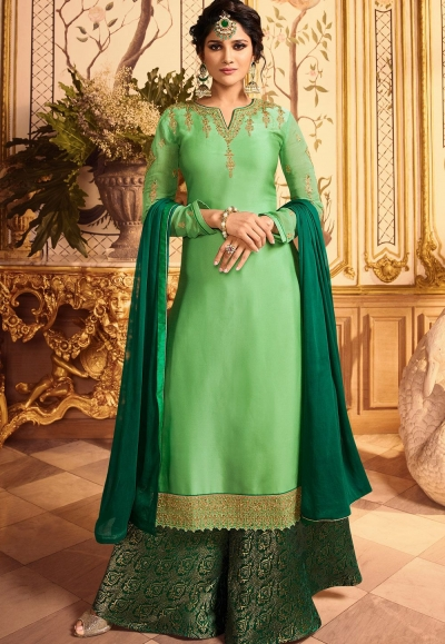 green embroidered satin georgette sharara style pakistani suit 15603