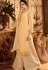 cream embroidered satin georgette sharara style pakistani suit 15602