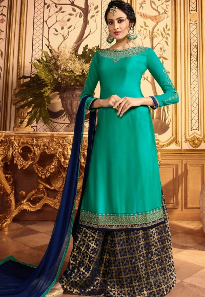 blue embroidered satin georgette sharara style pakistani suit 15601