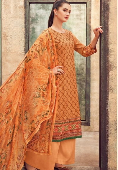 dark yellow cotton satin embroidered daman work and digital printed palazzo suit 9038