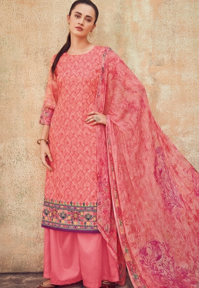 pink cotton satin embroidered daman work and digital printed palazzo suit 9037