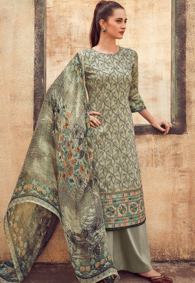 grey cotton satin embroidered daman work and digital printed palazzo suit 9036