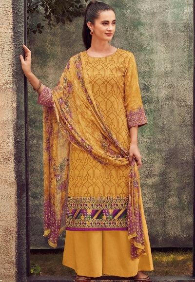 mustard cotton satin embroidered daman work and digital printed palazzo suit 9035