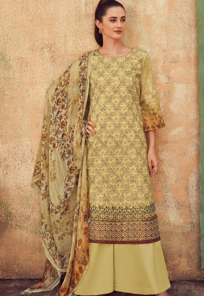 beige cotton satin embroidered daman work and digital printed palazzo suit 9034