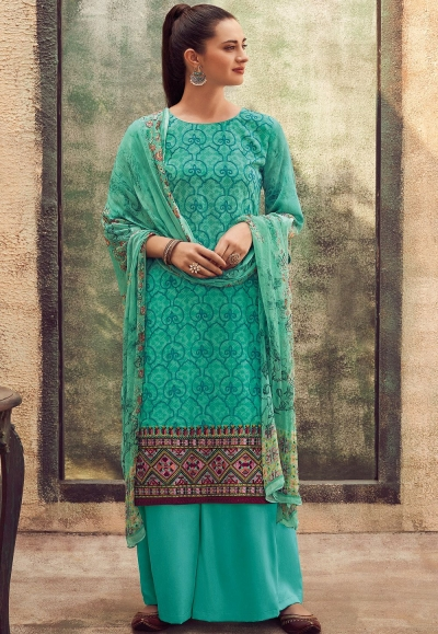 blue cotton satin embroidered daman work and digital printed palazzo suit 9030