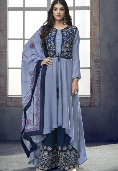 blue shade maslin palazzo jacket style pakistani suit 716