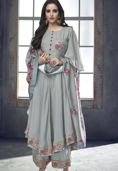 grey maslin palazzo style pakistani suit 714