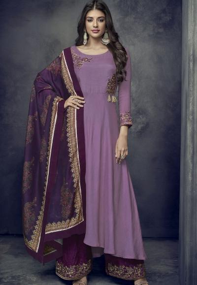 mauve maslin palazzo style embroidered pakistani suit 712