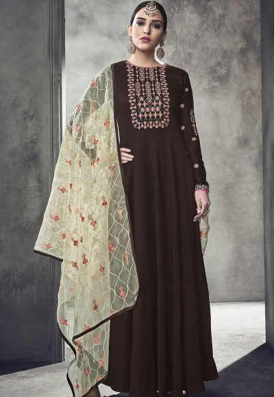 brown maslin cotton long anarkali gown style suit 39011