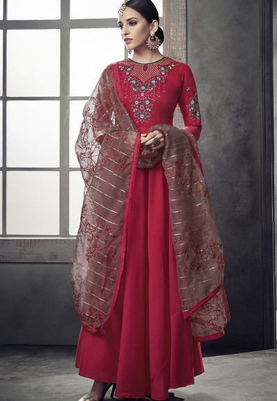 pink maslin cotton long anarkali embroidered gown style suit 39010