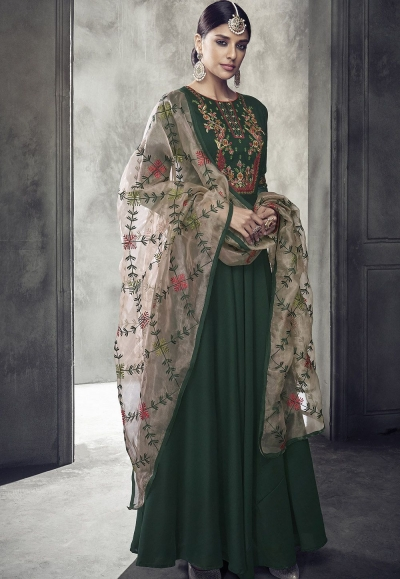 dark green maslin cotton long anarkali gown style suit 39009