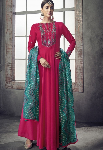 pink maslin cotton long anarkali gown style suit 39008