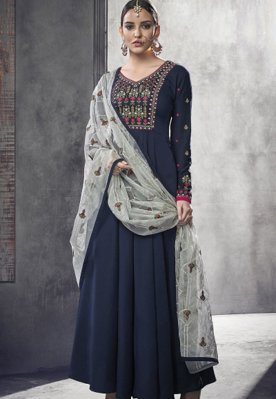navy blue maslin cotton long anarkali gown style suit 39007