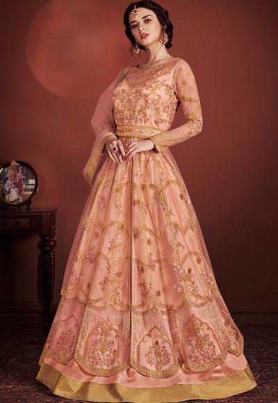 peach net embroidered lehenga style anarkali suit 8149