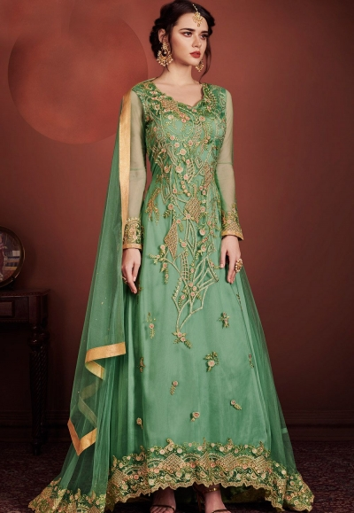 green net embroidered designer long anarkali suit 8146