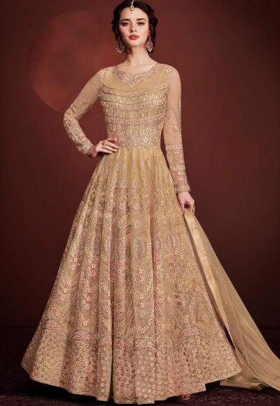 beige net long embroidered anarkali suit 8145