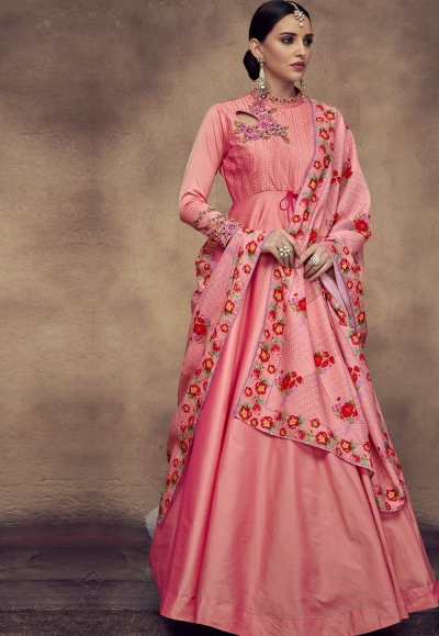 pink tapeta and satin silk embroidered readymade anarkali gown 39017
