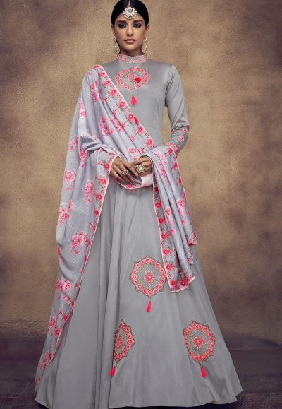 grey tapeta and satin silk embroidered readymade anarkali gown 39016