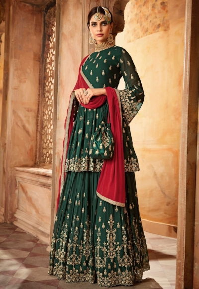 Bottle Green and red georgette wedding lehenga
