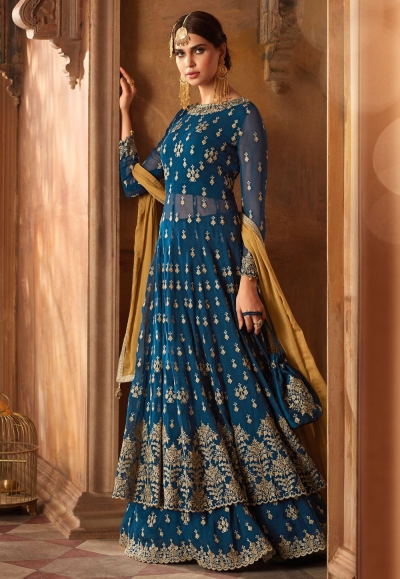 Cyan blue and Mustard Georgette wedding lehenga