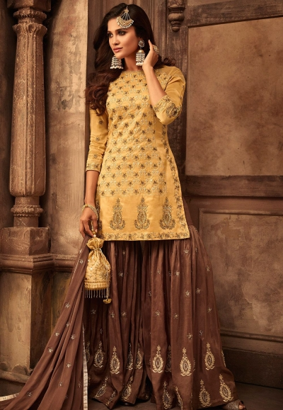 mustard brown georgette satin embroidered sharara style pakistani suit 29005