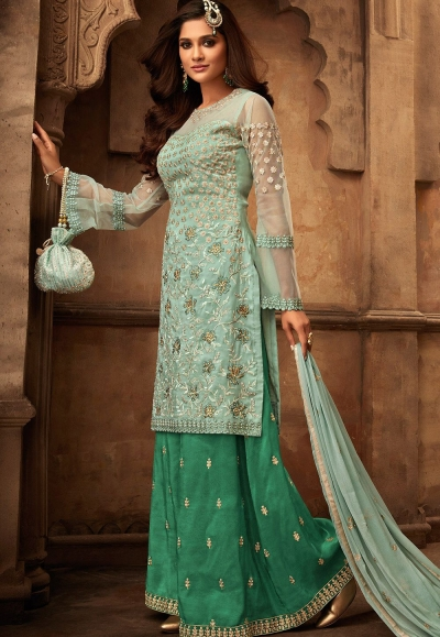blue green georgette satin embroidered sharara style pakistani suit 29002