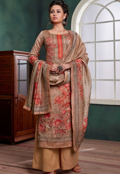 beige chanderi digital printed palazzo suit 1073
