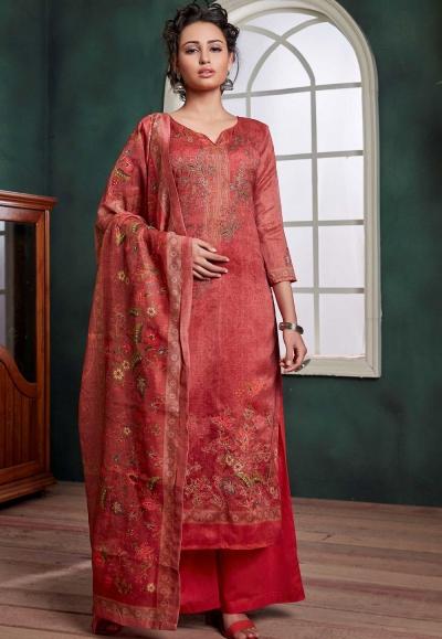 red chanderi digital printed palazzo suit 1071