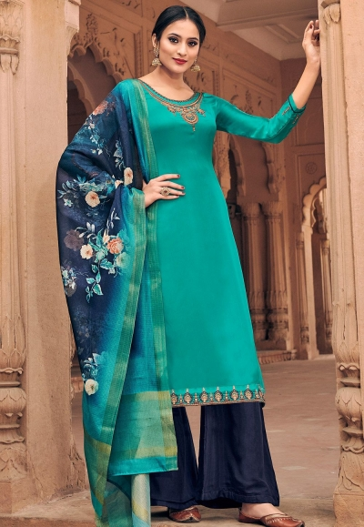cyan georgette satin palazzo style suit 6604