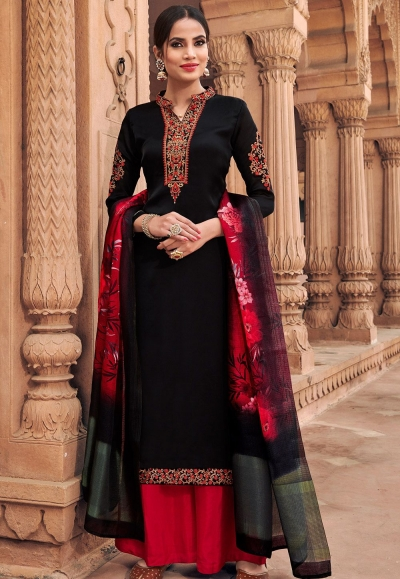 black georgette satin palazzo style suit 6603