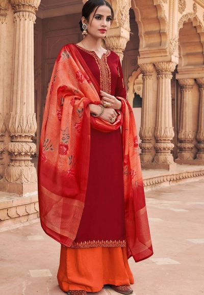 maroon georgette satin palazzo style suit 6601