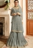 grey satin net embroidered sharara style heavy pakistani suit 15306