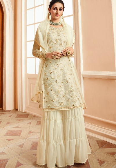 off white satin net embroidered sharara style pakistani suit 15304