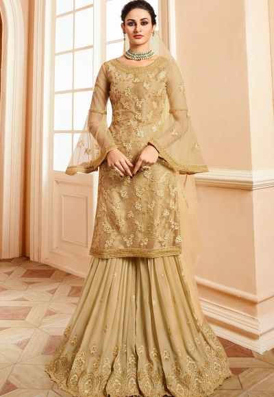 golden satin net embroidered sharara style pakistani suit 15302