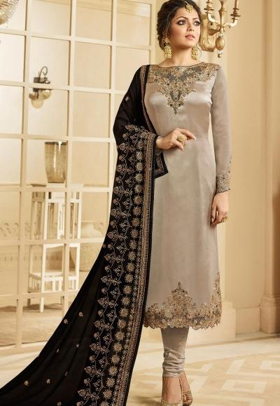 drashti dhami grey satin georgette embroidered churidar suit 3207