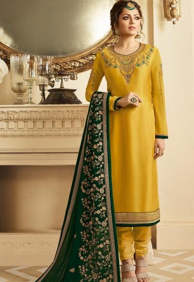 drashti dhami yellow satin georgette embroidered churidar suit 3204