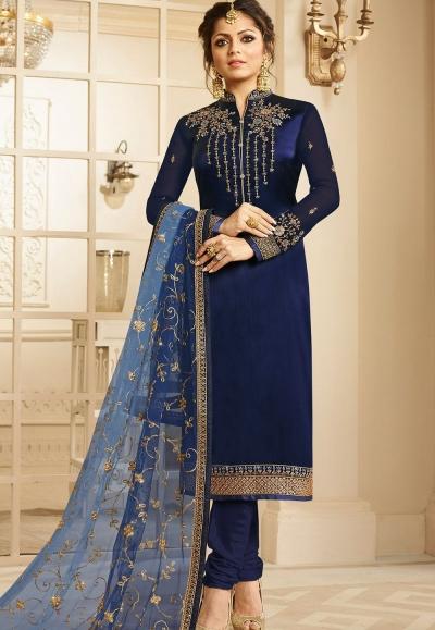 drashti dhami navy blue satin georgette embroidered churidar suit 3202