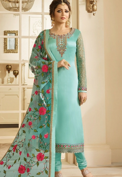 drashti dhami sky blue satin georgette embroidered churidar suit 3201