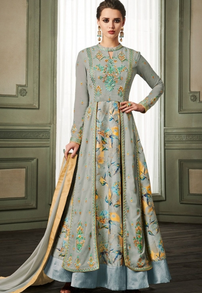 grey georgette long embroidered anarkali suit 37004