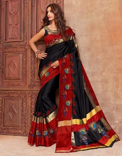 Aangi Mayura Blazing Black Wedding Wear Cotton Saree