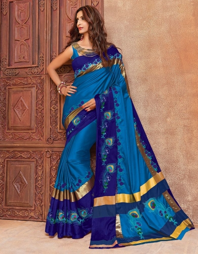 Aangi Mayura Ananda Blue Wedding Wear Cotton Saree