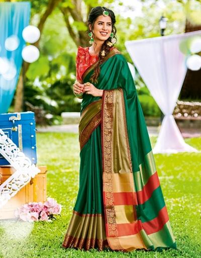 Mudita Tender Green Wedding Wear Saree