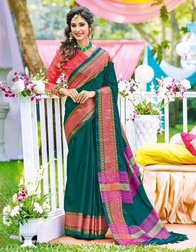 Naazni Teal Green Wedding Wear Saree