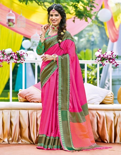 Naazni Blush Pink Wedding Wear Saree