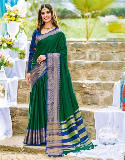 Ashra Tender Green Wedding Wear Cotton Saree