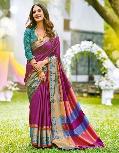 Joshna Rosy Pink Wedding Wear Cotton Saree