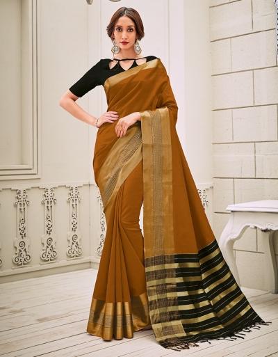 Aamilah Mustard Brown Festive wear cotton saree