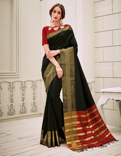 Aamilah Onyx Black Festive wear cotton saree