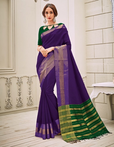Aamilah Aster Purple Festive wear cotton saree