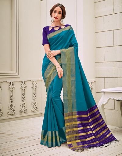 Aamilah Peacock Blue Festive wear cotton saree